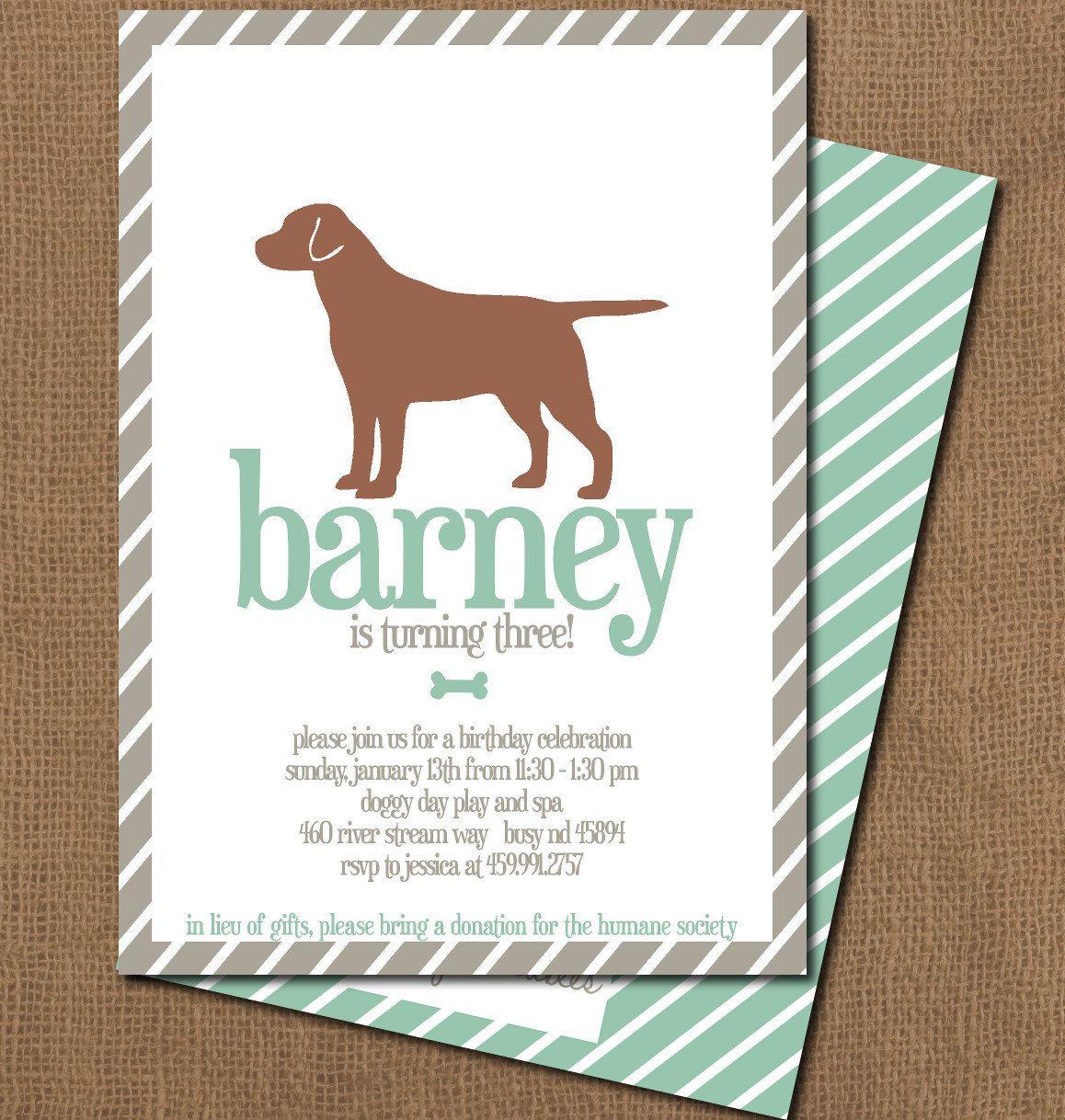 Printable Boy Dog Birthday Party Invitation. $12.00, via Etsy ...