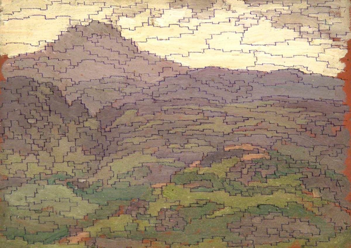 "Sidney Herbert Sime, ""Landscape"" (nd), oil on panel board (courtesy Sidney H…"