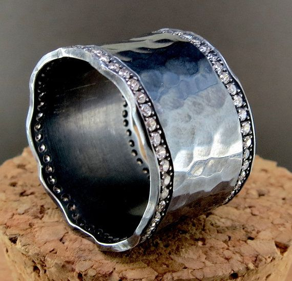 Hand Forged Silver and Diamond Ring by SixthAvenueJewelers on Etsy