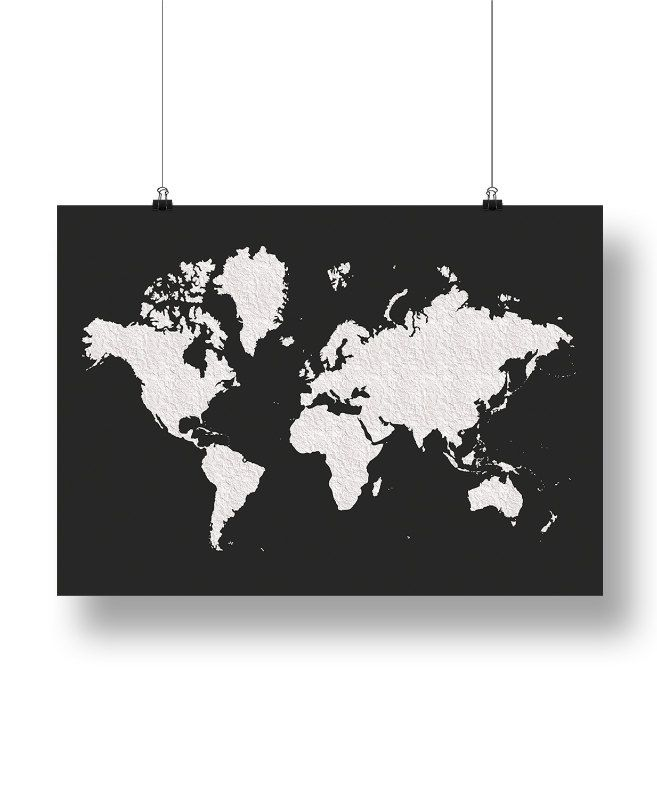 World map poster black white large world map affiche scandinave world map poster black white large world map by ilkadesign gumiabroncs Choice Image