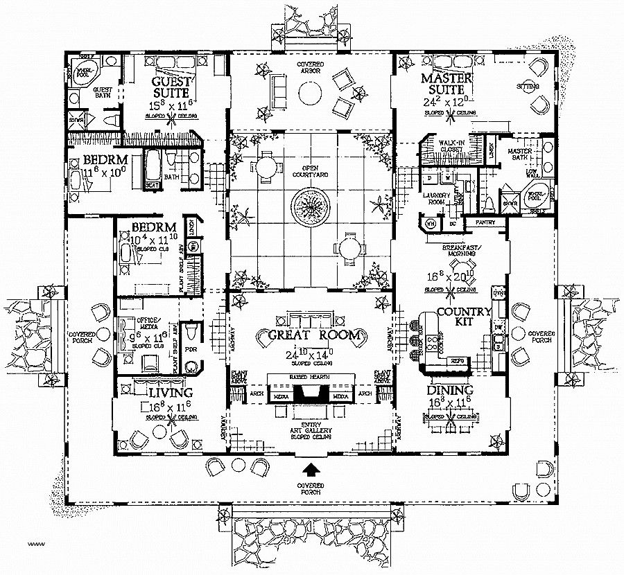 Home Plans Spanish Mission Style Archivosweb Com Courtyard House Plans Mediterranean House Plans Mediterranean Style House Plans