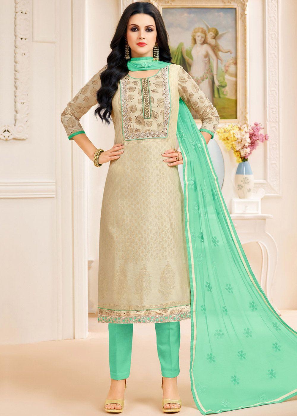 91ddefb4be Beige Chanderi Silk Pant Suit with Dupatta | Pant Style Suits ...