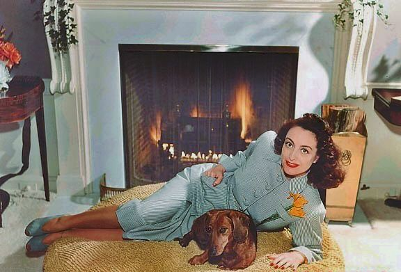 In front of the fire place with the same outfit and cute pooch!