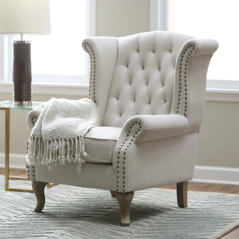 hayneedle belham living tatum tufted arm chair with nailheads with its gloriously neutral upholstery and sassy nailhead trim the belham living tatum