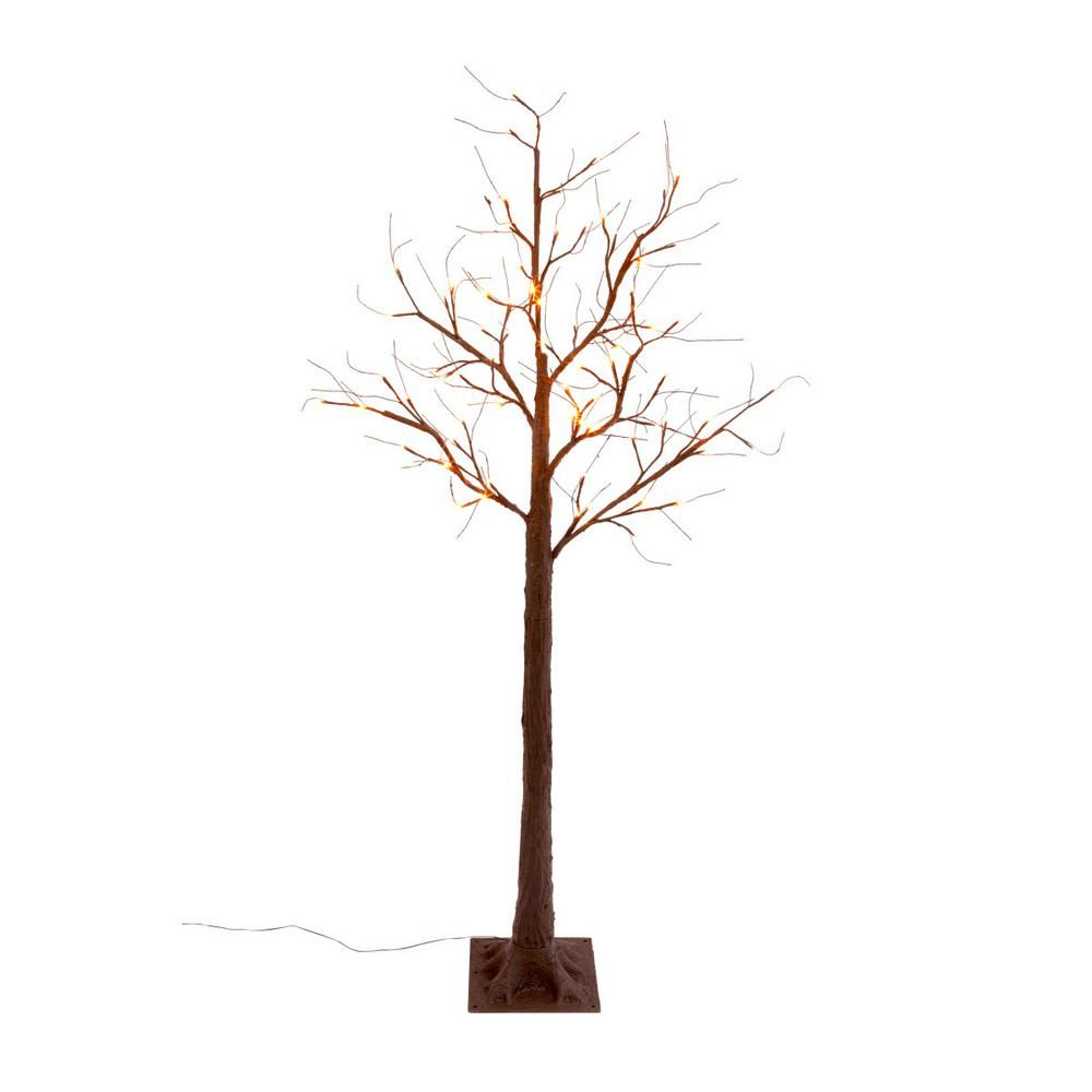 72 In H Electric Led Orange Lighted Bare Brown Tree 2366280ec The Home Depot Spooky Trees Orange Led Lights Beautiful Tree