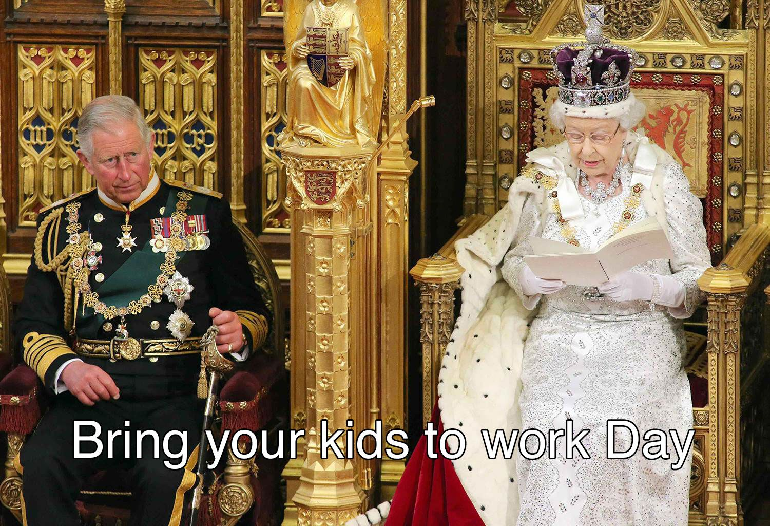 20 Picture Of Queen Of England And Prince Charles Sitting On The Throne In Full Costume With Caption Joking Prince Charles Queen Elizabeth Queen Of England [ 1024 x 1500 Pixel ]