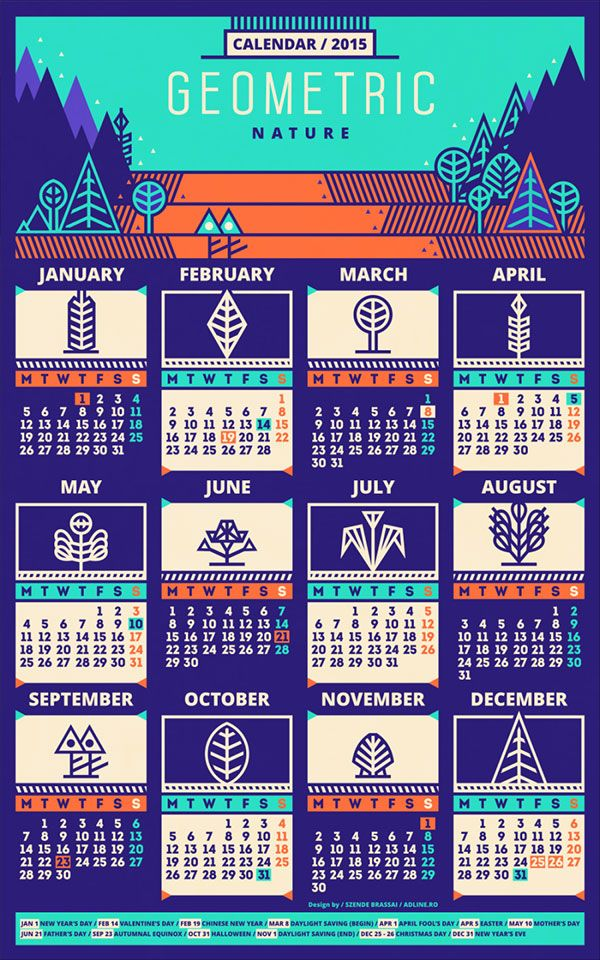 25 New Year 2015 Wall Desk Calendar Designs For Inspiration