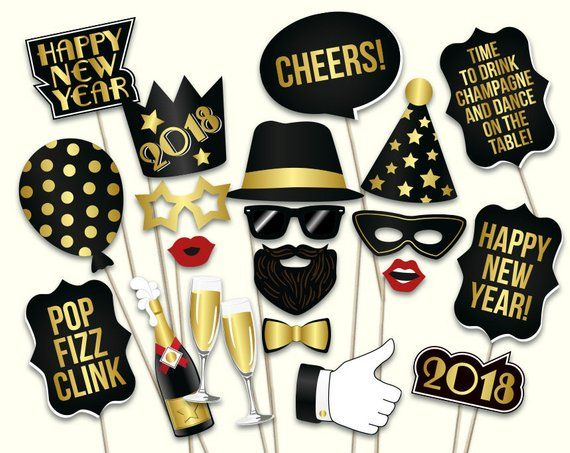 New Years Eve Props Printable Pdf 2018 New Years Eve Photo Booth