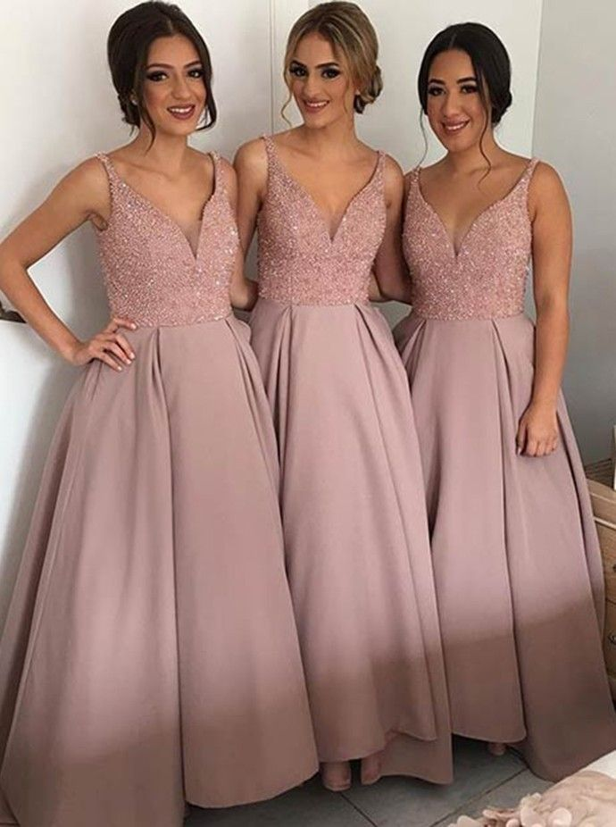 V Neck Beaded Bridesmaid Dress,Elegant Wedding Party Dress,Long ...