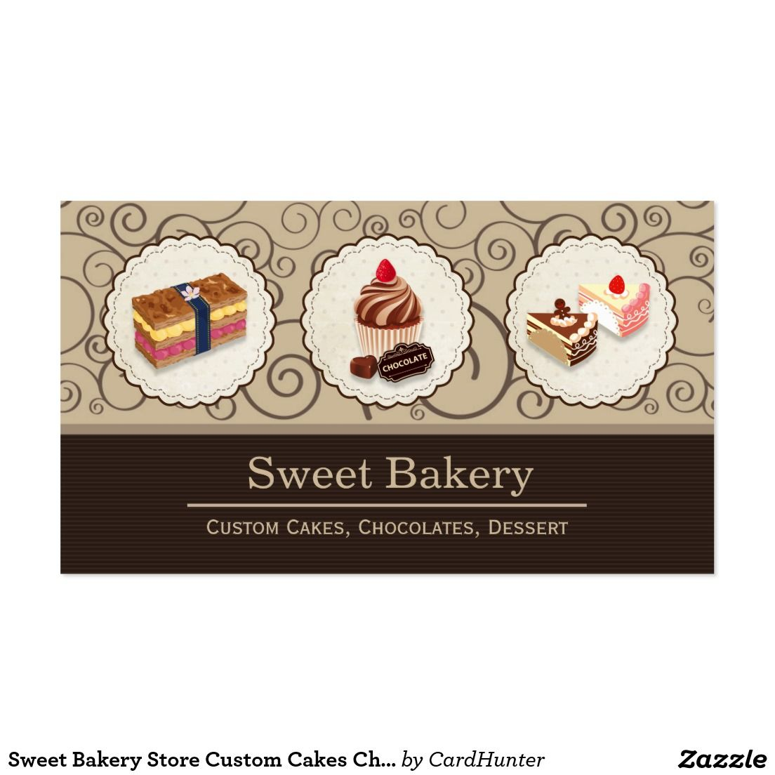 Sweet Bakery Store Custom Cakes Chocolates Dessert Business Card ...