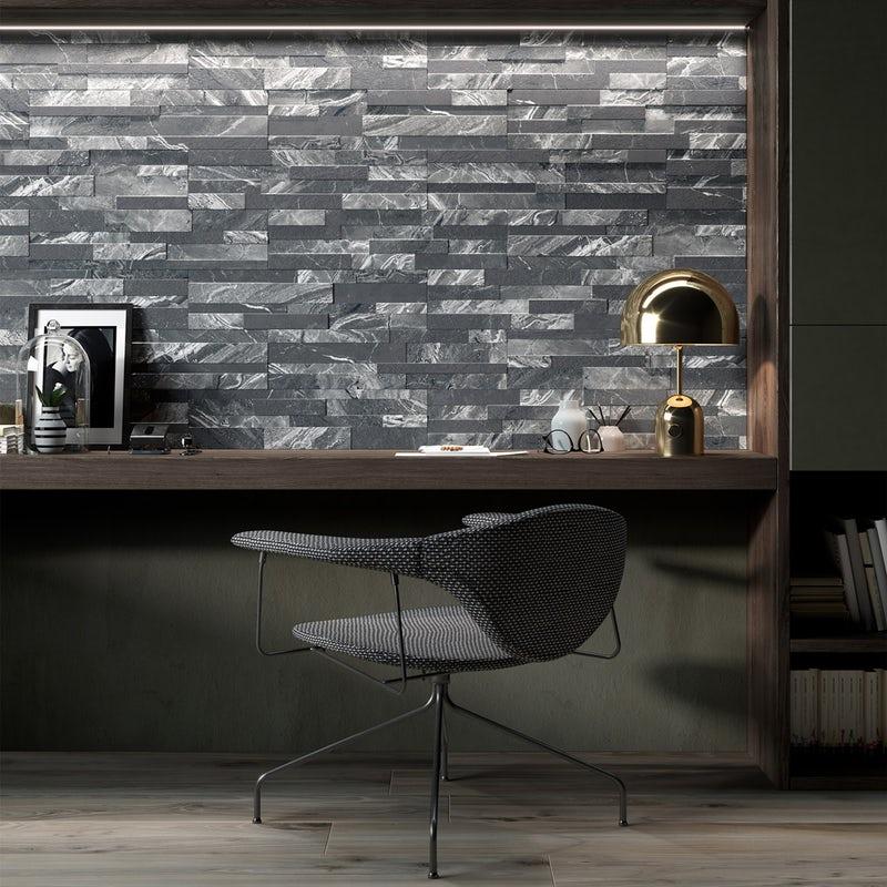 Bolsena Black Split Face Stone Effect Matt Wall Tile 150mm X 610mm