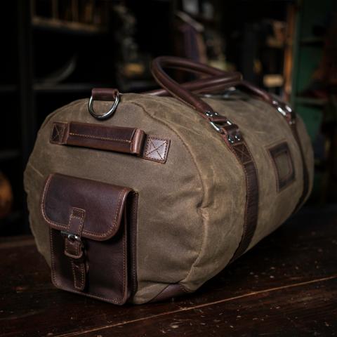 bde1e555cf7 Elkton Large Duffle Travel Bag - Waxed Canvas and Dark Walnut Leather