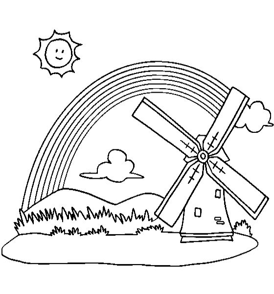 Rainbow Behind The Windmill Coloring Pages Coloring Pages