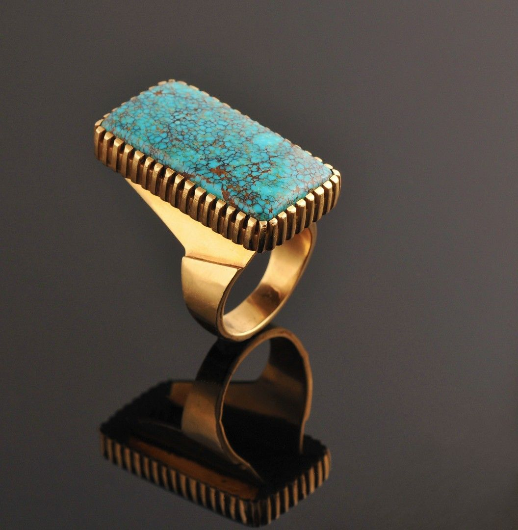 Loloma Single Stone Ring ...one of the finest he ever made.The  stone is the highest grade  Nevada blue turquoise... ring was made in the late 70's on special order.... a matching belt buckle was also made with the same high quality stone. Ring is  currently in a private collection.