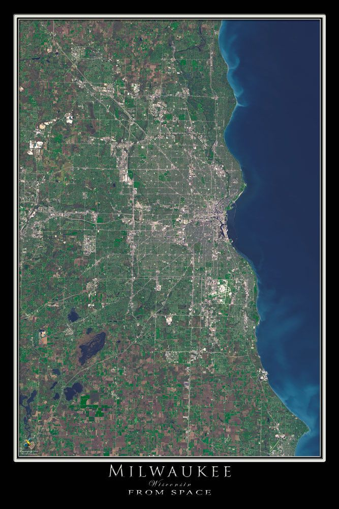 The Milwaukee Wisconsin Satellite Poster Map
