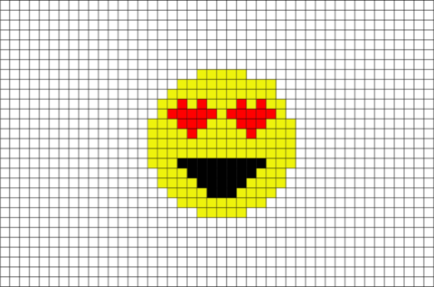 Smiling Face With Heart Shaped Eyes Emoji Pixel Art Pixel