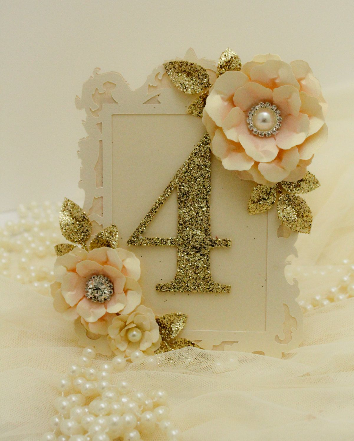 Wedding decorations gold and pink  Blush pink and gold table number frame style table number gold
