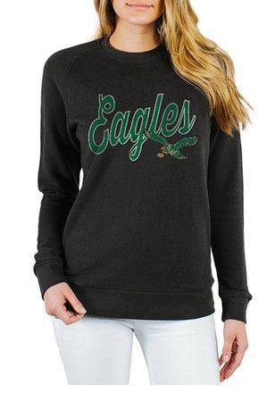 Junk Food Clothing Philadelphia Eagles Womens Retro Bird Black Crew