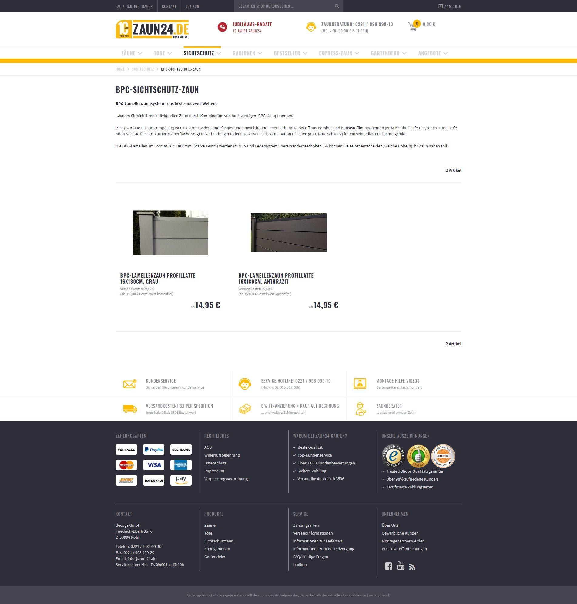 c52100f62bd5dc BPC-Sichtschutzzaun online kaufen bei ZAUN24. Schauen Sie doch mal rein! -  ZAUN24