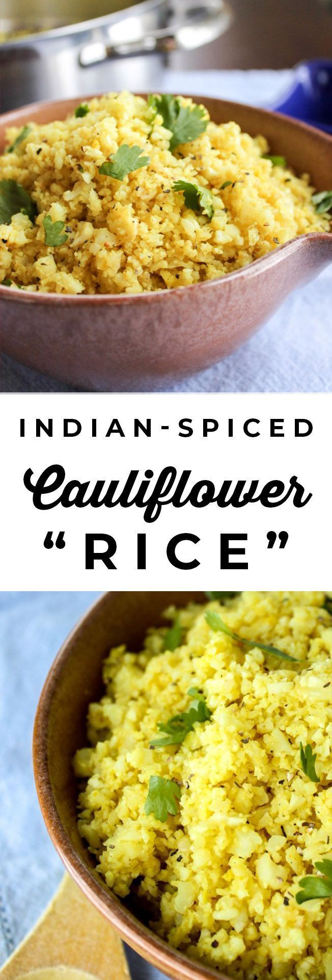 "Photo of Indian flavored cauliflower ""Rice"" from The Food Charlatan. Cauliflower rice is approx."