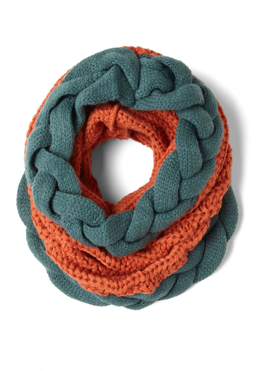 Braid Winner Scarf - Orange, Blue, Braided, Knitted, Winter