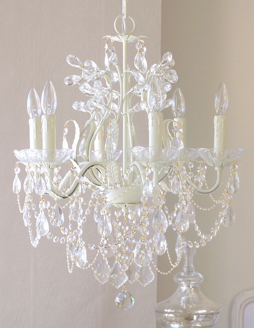 5 Light Antique White Chandelier With Pink Rose Shades White