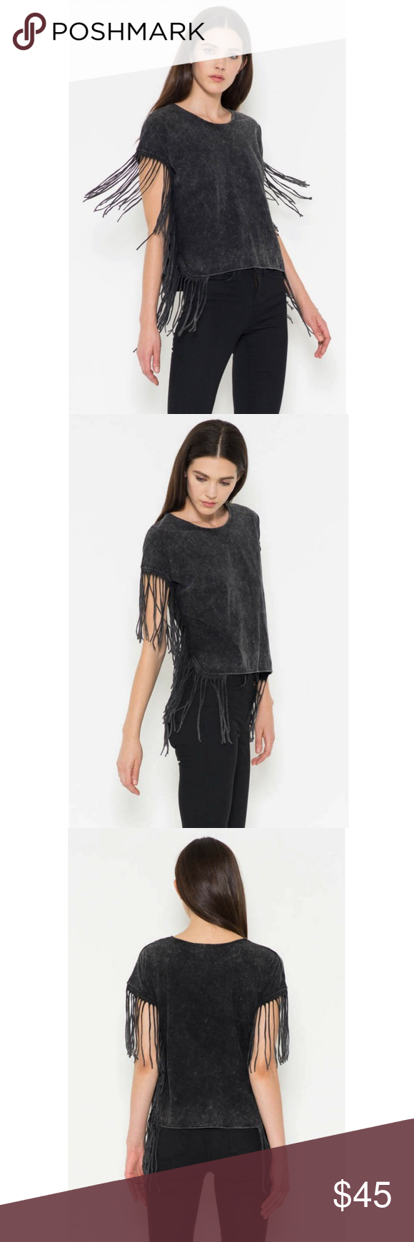 Short Sleeve Fringe Top Hip and trendy short sleeve top with fringe on the sleeves and the sides of the hem. Acid washed soft cotton fabric.  100% Cotton.  Size-S,M,L Classic Paper Doll Tops Tees - Short Sleeve