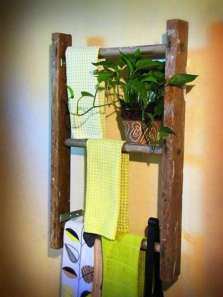 Antique Wooden Ladder Bookshelf Towel Rack Magazine