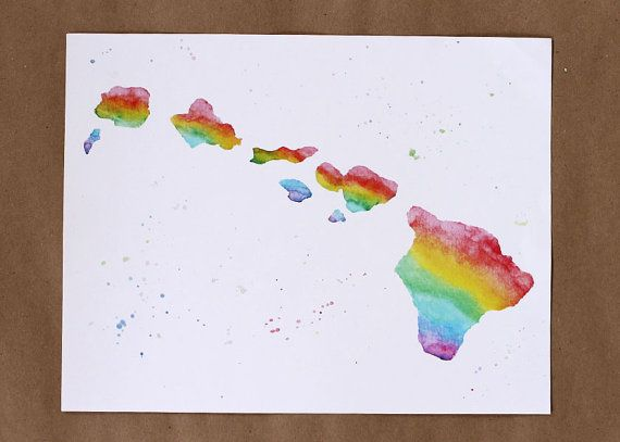 Hawaii art Hawaiian Islands art Hawaiian Islands rainbow map