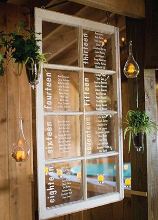 Table Number Seating Idea On A Rustic Window Pane