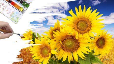 Painting autumn brush sunflowers artist HD Wallpaper