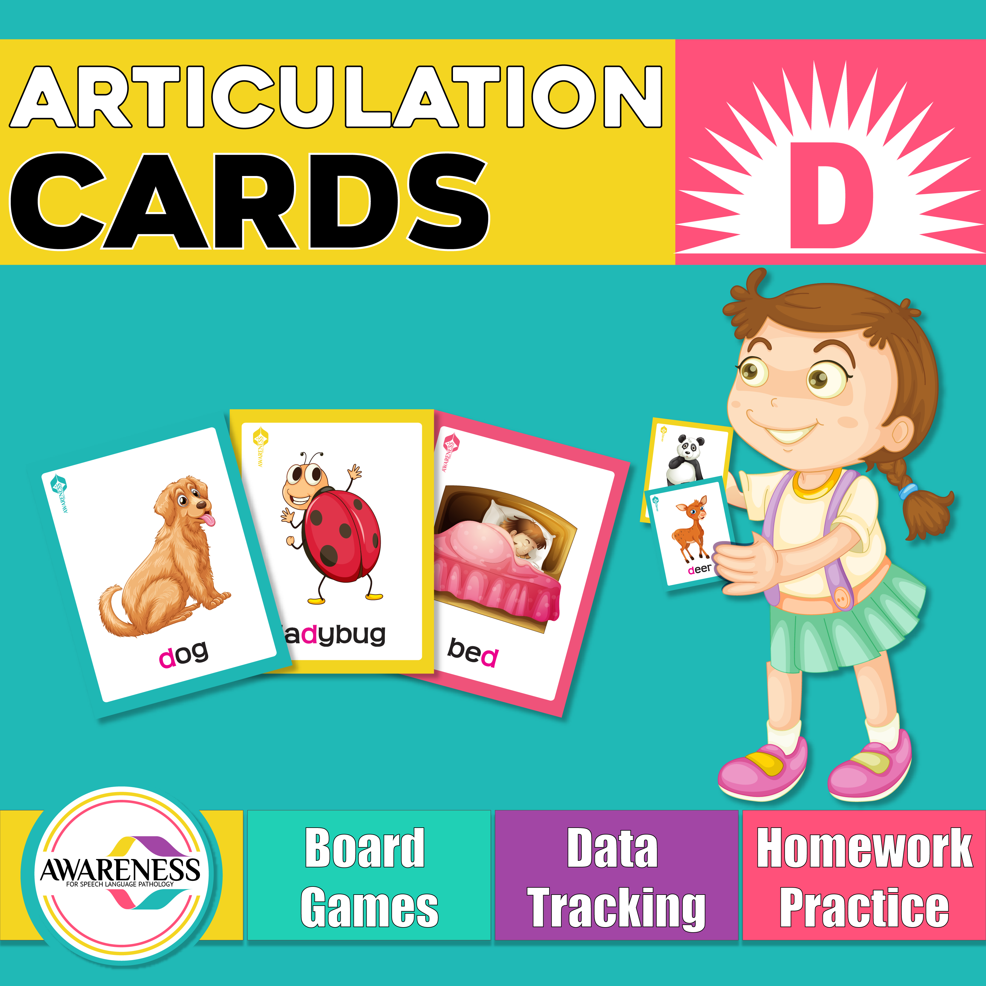 D Articulation Cards Worksheets And Activities For Speech