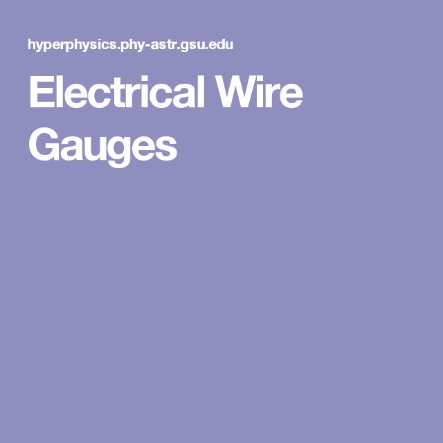 Electrical Wire Gauges | Électronique - Electronics | Pinterest | Gauges