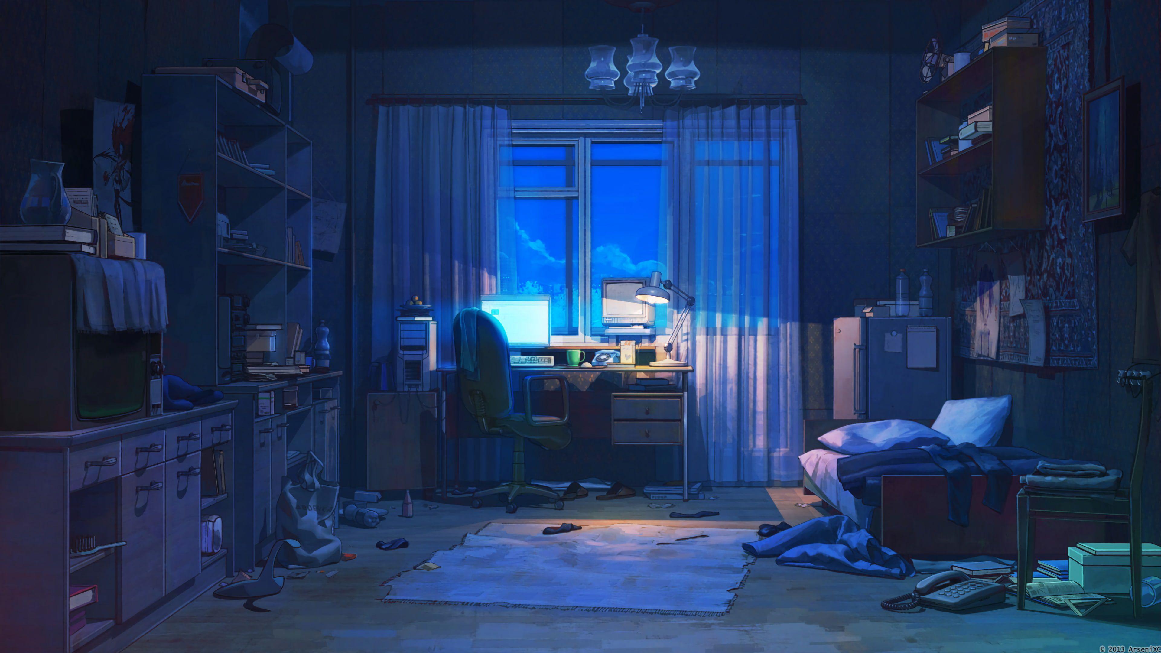 Anime Room Interior Dark Everlasting Summer Arseniy Chebynkin 4k Wallpaper Hdwallpaper Desktop Anime Scenery Scenery Background Anime Background