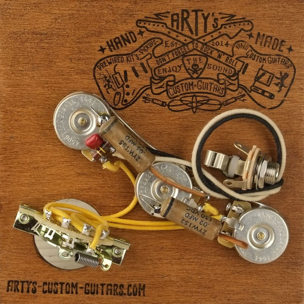 Arty S Custom Guitars 2x Cap Tone Control Vintage Pre Wired Prewired Kit Wiring Assembly Harness Arty Strat Stratocaster With Images Custom Guitars Kit Harness