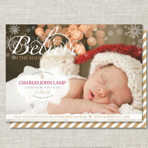 Believe Birth Announcement Custom Doublesided By Graceandco - Christmas birth announcement