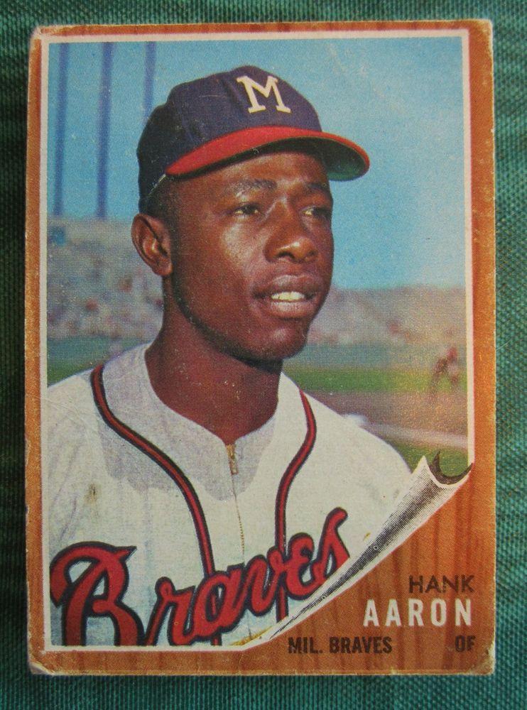 1962 topps hank aaron baseball card milwaukee braves 320