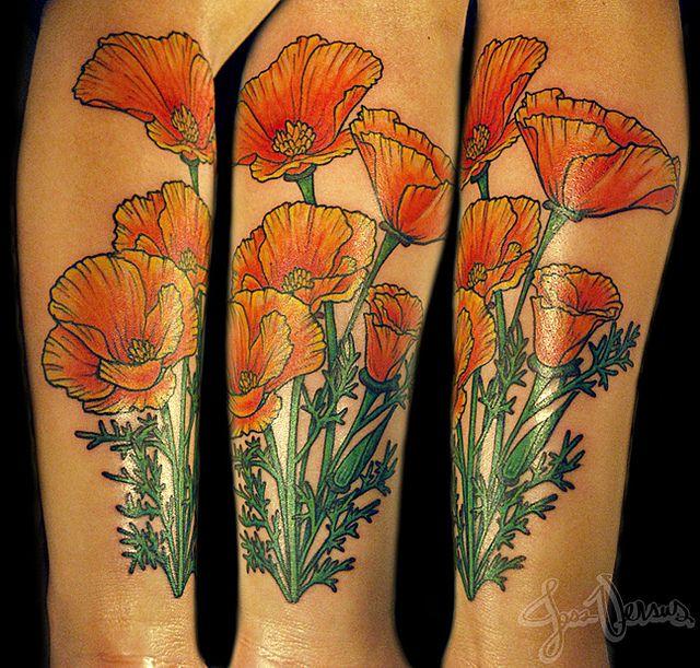Art Nouveau Inspired California Poppy By Mason Larose: Thinking About Getting A California Poppy Tattoo Next