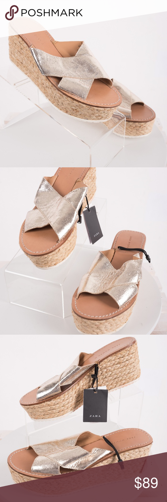 acf5e212652a Zara Jute Wedges Espadrilles Sandals Gold Jute 6.5 Zara Women s Jute Wedges  Espadrilles s19 Sandals 100