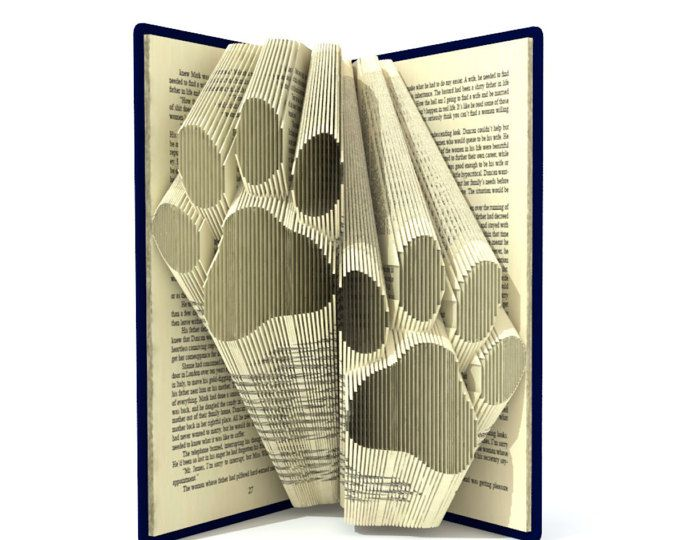 Photo of Double Paws Folded Book Art Pattern PDF Book Folding | Etsy