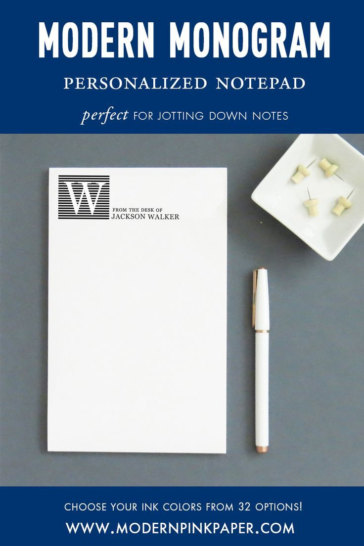 Men's Modern Monogram From The Desk Of Personalized Notepad