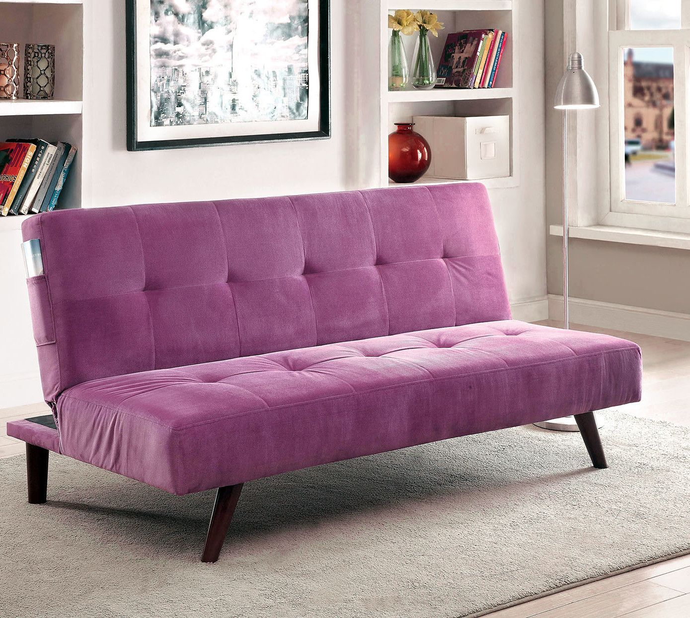 Tufted Flannelette Sleeper Sofa Futon Sofa