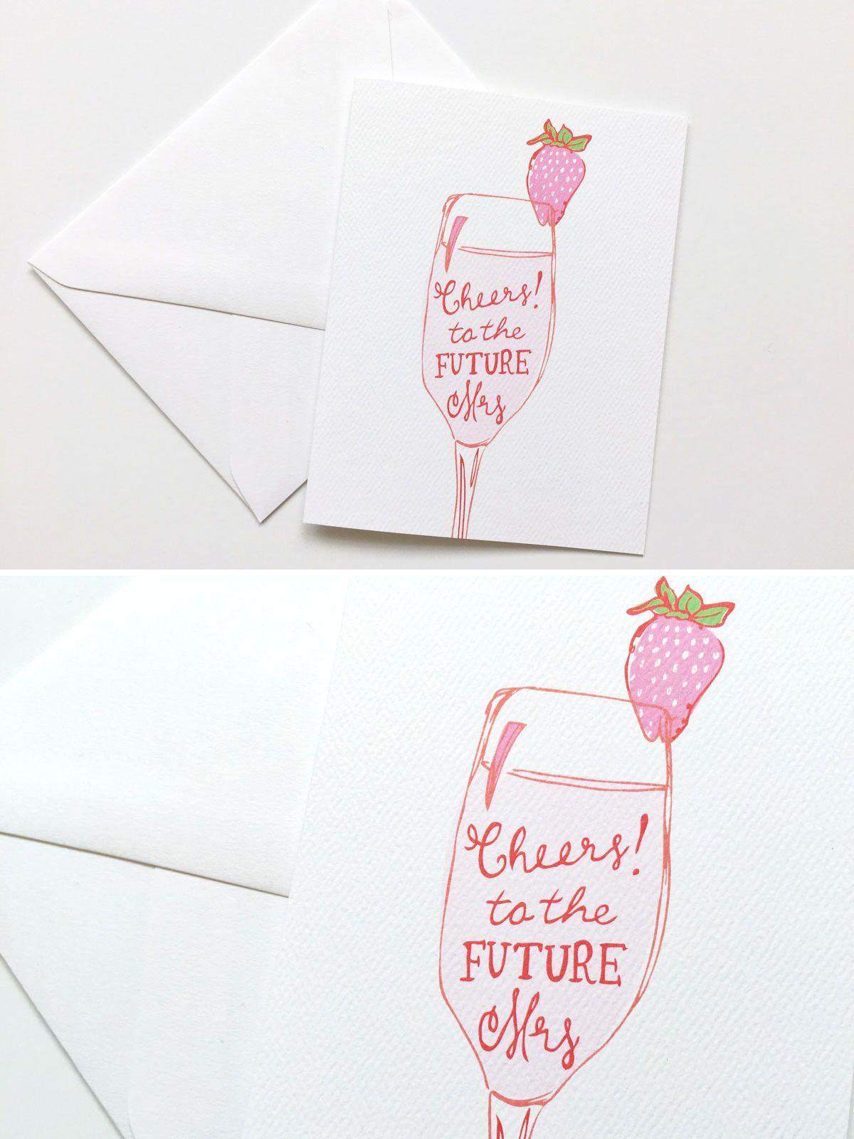 Bridal Shower Greeting Card Cheers Illustration Cards Ideas Bridalshower