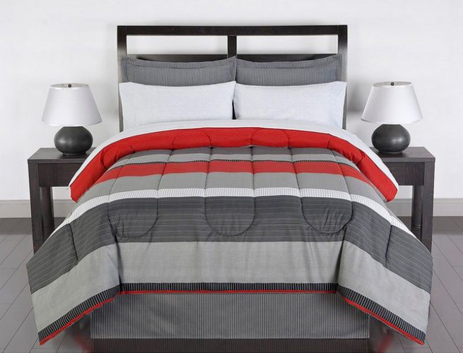 Red Gray White Striped 8 Piece Full Size Comforter Bedding Set Comforter Sets Red Comforter Bedroom Red