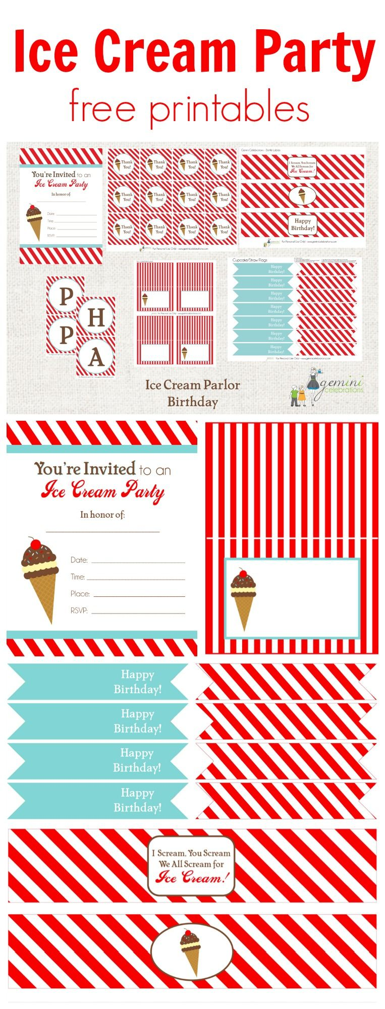 Mint Green and White Instant Download Boys/' Birthday Parties Ice Cream Parlor Party Printable Backdrop Template A0 Size