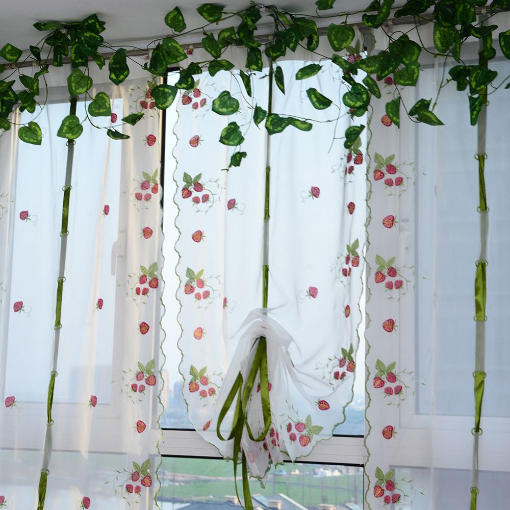 Romantic 1 Pcs 0.8 * 1 M Window Curtains Sheer Voile Tulle Curtain Fruit  Printed For
