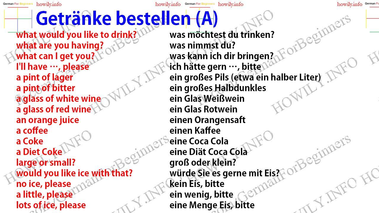 Getränke bestellen | Englisch | Pinterest | Getränke bestellen ...
