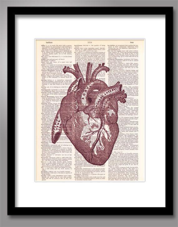 Un corazón rojo Print sobre papel Vintage Diccionario | pintura ...
