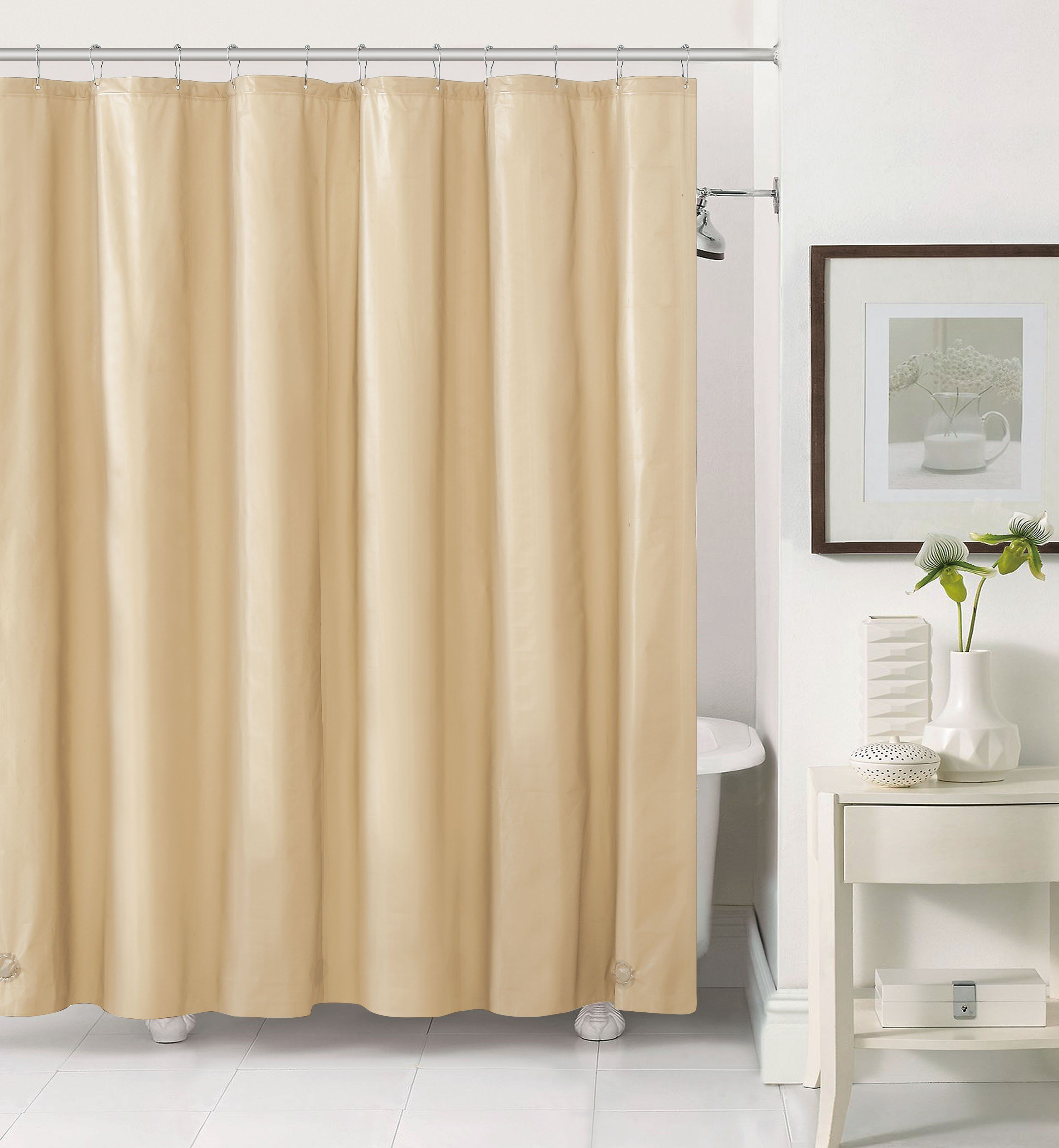10 Gauge PEVA Non Toxic Shower Curtain 72 X With Magnets And Metal Grommets