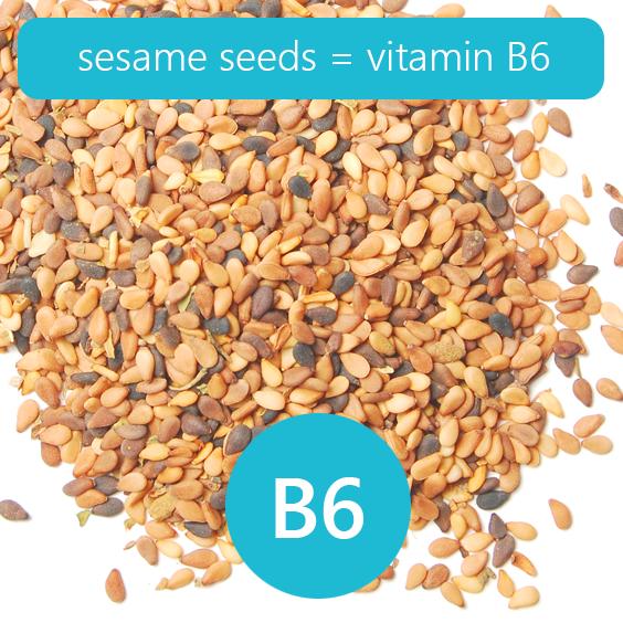 sesame seeds 0.8 mg of vitamin B6 per 100 grams! Foods